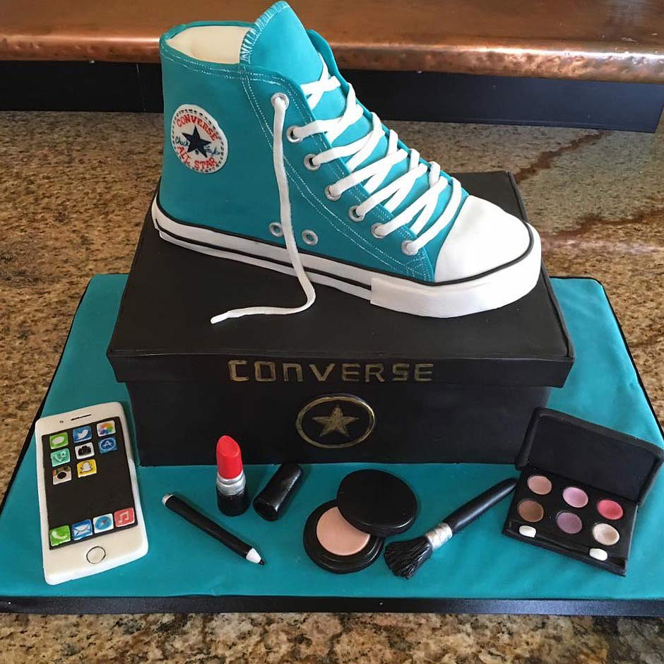 sculpted converse shoe cake