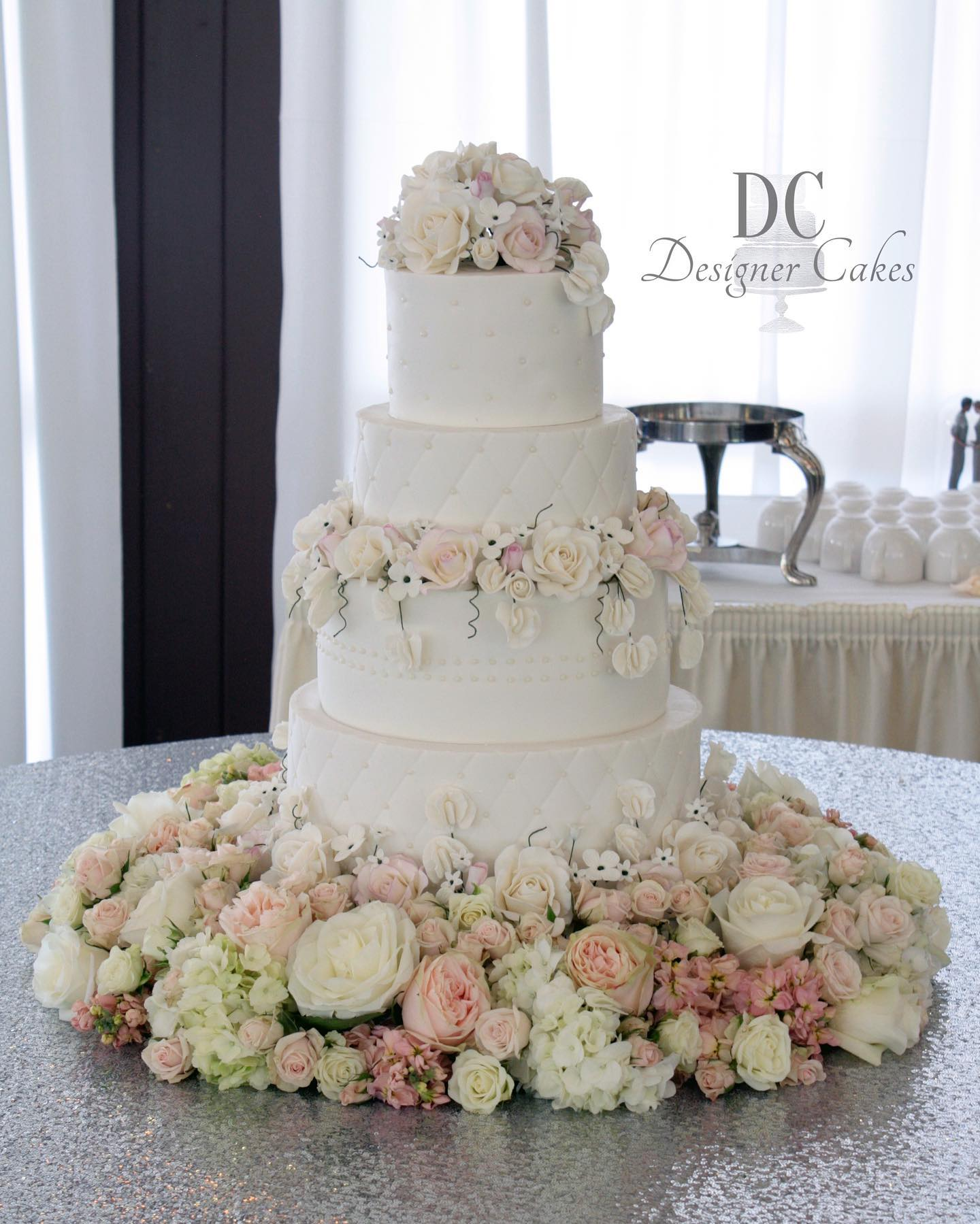 Quilted White Wedding Cake